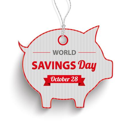 """banco mundial: Piggy pegatina pricer banco con el texto """"Día Mundial del Ahorro"""". archivo vectorial."""