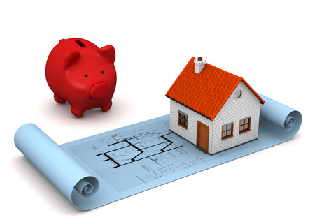 draftsman: Architectural drawing in blue color with small house with red piggy bank on the white background.