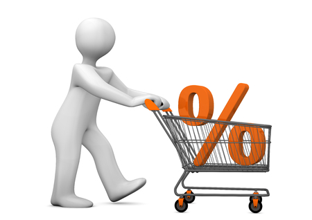 per cent: White cartoon character with shopping cart and per cent. 3d illustration. Stock Photo