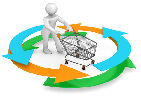 caddy: White cartoon character with colored arrows and shopping cart. 3d illustration. Stock Photo