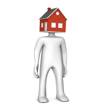 remediation: Manikin with house head. 3d illustration.