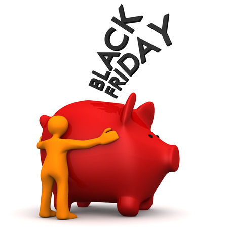 Orange cartoon character with red piggy bank and text Black Friday. 3d illustration.