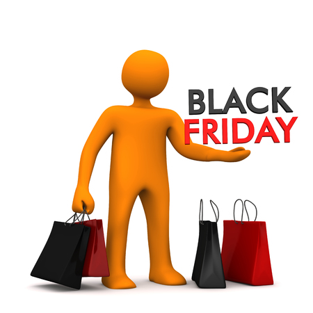onlineshop: Orange cartoon character with shopping bags and text Black Friday. 3d illustration.