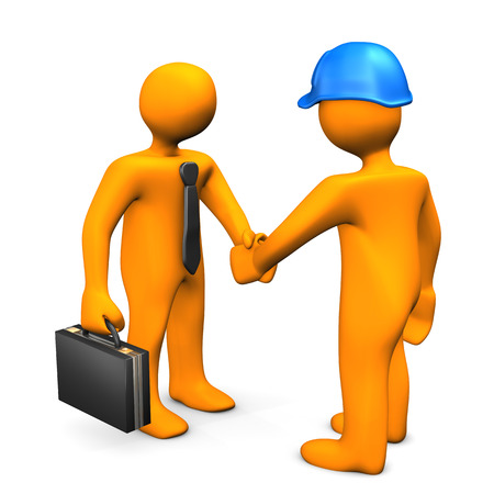 cartoon orange: Handshake with businessman and worker on the white. 3d illustration.