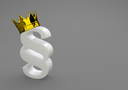 sway: White porcelain paragraph with golden crown. 3d illustration.