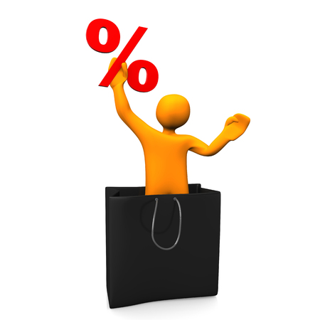 percent: Orange cartoon character in the shopping bag with percent. 3d illustration.