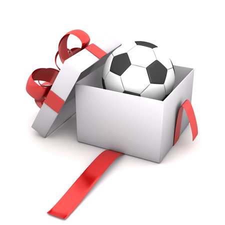 ed: Football in the opened gift box. 3d illustration.