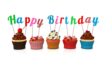 choco: Cupcakes with text Happy Birthday. 3d illustration. Stock Photo