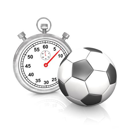 cronógrafo: Cronómetro con el fútbol clásico en el blanco. Ilustración 3D.