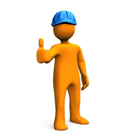 cartoon orange: Orange cartoon character with blue helmet on the white background. 3d illustration.