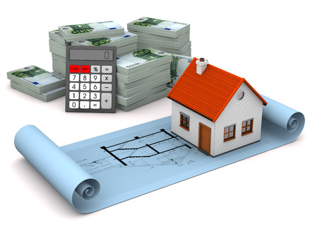 planing: House with construction plan, calculator and euro notes on the white. 3d illustration.