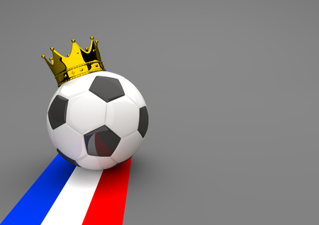 national colors: Football with golden crown and french national colors. 3d illustration. Stock Photo