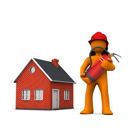 Fireman with extinguisher and house on the white. 3d illustration. Stock Photo