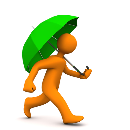 brolly: Orange cartoon character with green umbrella. 3d illustration.