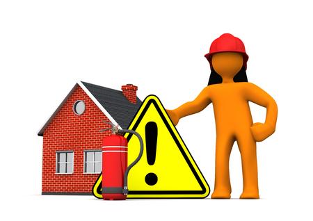 incendio casa: Bombero con extintor, señal de peligro y la casa en el blanco. Ilustración 3D. Foto de archivo