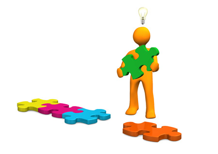Orange cartoon character with puzzle pieces and bulb on the white. 3d illustration.