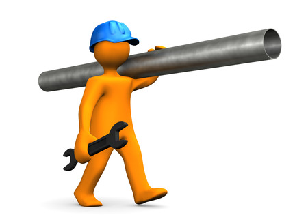 tube wrench: Plumber with blue helmet and spanner on the white background. 3d illustration.