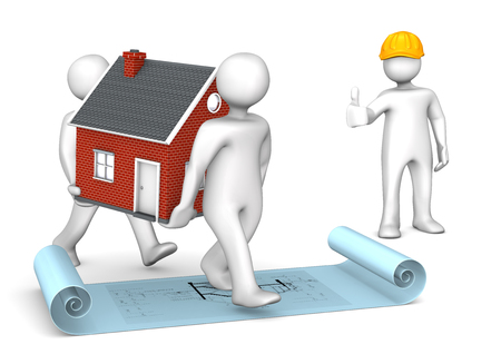 draftsman: White cartoon characters with house and construction plan. Stock Photo