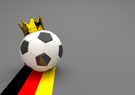 national colors: Football with golden crown and german national colors. 3d illustration.