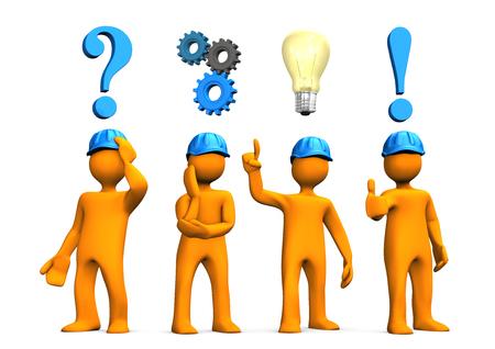 ingenieria industrial: La planificación concepto con cuatro personajes de dibujos animados de color naranja. Ilustración 3D.