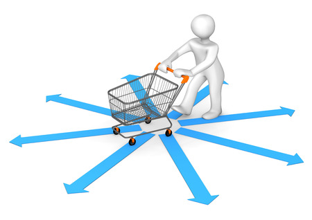 caddy: White cartoon character with blue arrows and shopping cart. 3d illustration.
