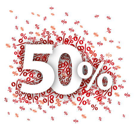 rebate: 50 red percents on the white. 10 vector file. Illustration