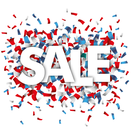 Text Sale with blue, red and white confetti on the white. 10 vector file.