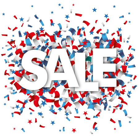 Text Sale with blue, red and white confetti and stars on the white. 10 vector file.