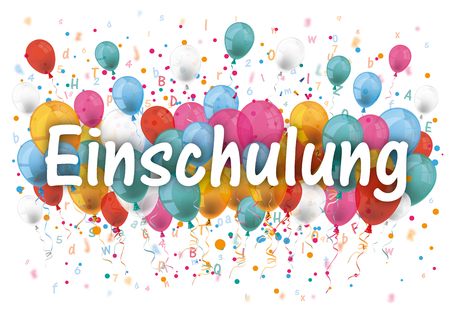 """German text """"Einschulung"""", translate """"Enrollment"""". 10 vector file."""
