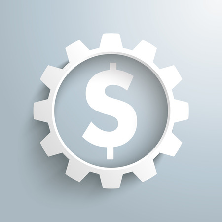 White gears with dollar symbol on the gray background. 10 vector file.