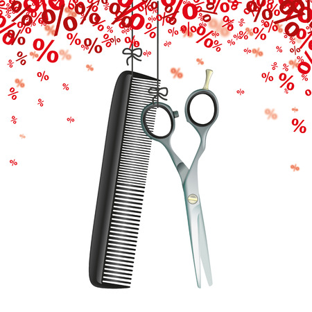 scissors comb: Hanging hairdresser tools with red percents confetti on the white background. 10 vector file.