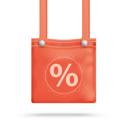 pocket book: Red purse bag with percent on the white background. 10 vector file.