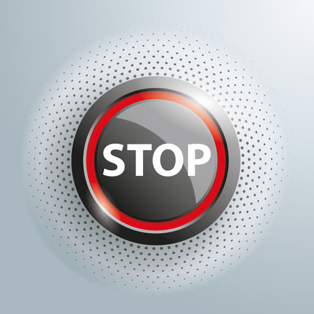 adviser: Stop button with halftone on the gray background. 10 vector file.