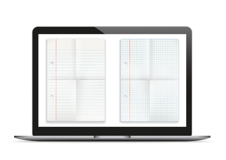 plated: Notebook mockup with folded papers on the white background. 10 vector file. Illustration
