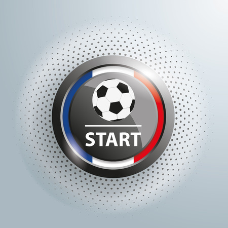 beginnings: Button with football and french national colors on the gray background. 10 vector file.