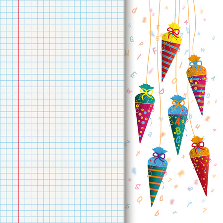checked: Candy cones with letters on the checked paper and pencil. 10 vector file.