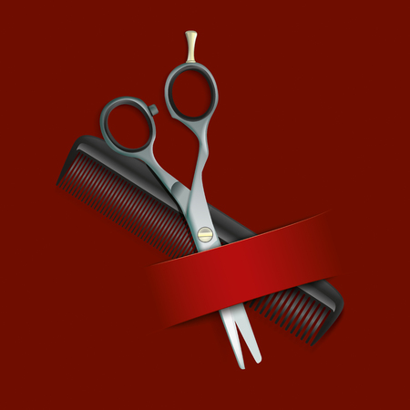 coiffeur: Comb and scissors with banner on the red background. 10 vector file.