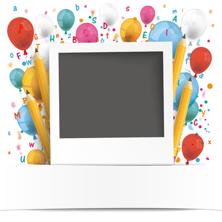writing paper: Instant photo with letters, numbers, balloons and banner on the white. 10 vector file.