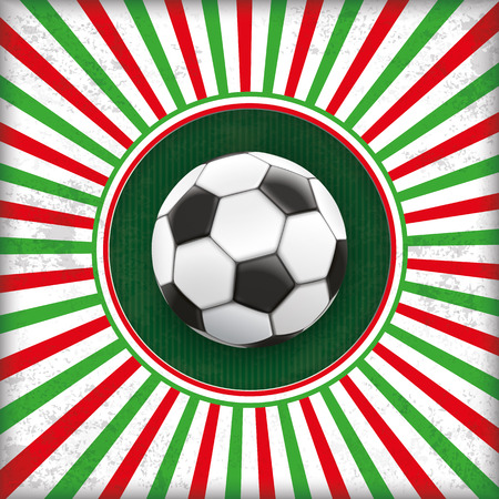 Vintage red and green colored background with a hole and a football. vector file. Illustration