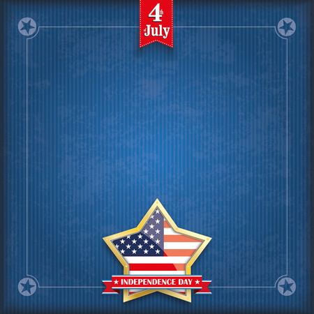 golden star: Vintage cover with golden star, US-flag, ribbon and frame for the Independence Day. 10 vector file. Illustration