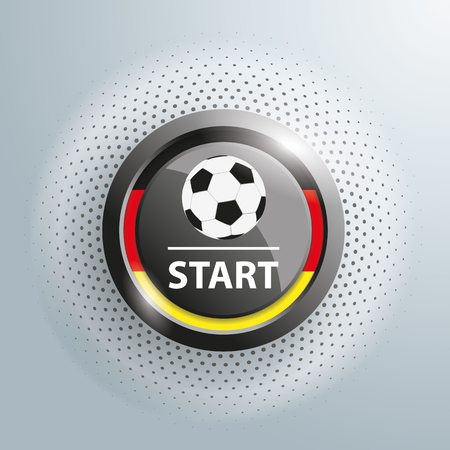 beginnings: Button with football and german national colors on the gray background. 10 vector file. Illustration