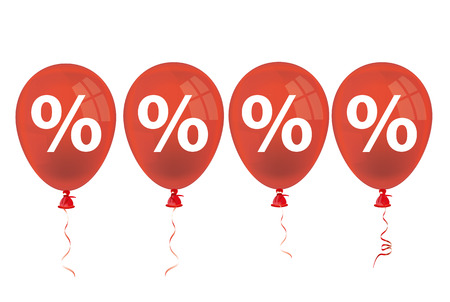 Percents with red balloons on the white background. 10 vector file.