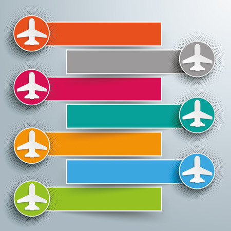 tabs: Infographic design with jets and banners on the gray background. 10 vector file. Illustration