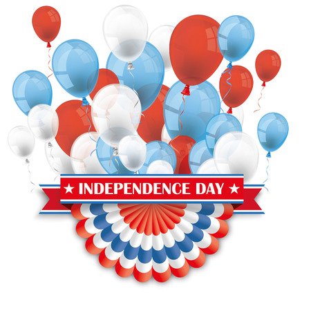 Balloons with US bunting, and ribbon for Independence Day.  10 vector file. Illustration