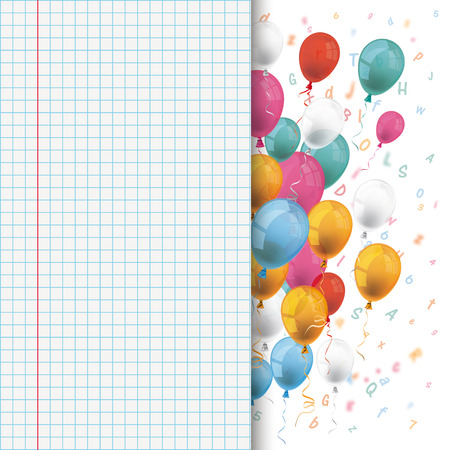 checked: Colored balloons with letters and checked paper. 10 vector file.