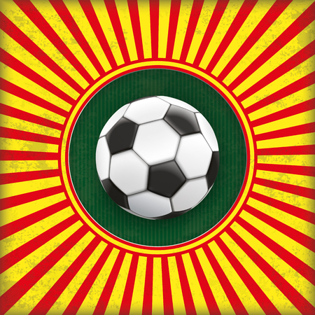 sport fan: Vintage red and yellow colored background with a hole and a football. 10 vector file.