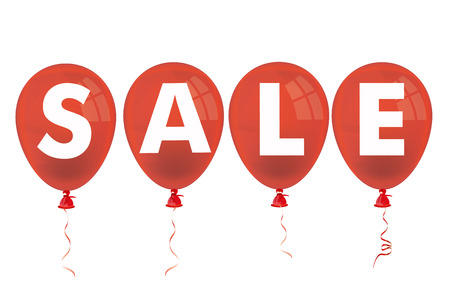 Text Sale with red balloons on the white background. 10 vector file.