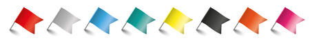 thumb tack: Colored pins with flags on the white background. 10 vector file. Illustration
