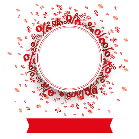 Paper emblem with red banner and percents on the white. 10 vector file.