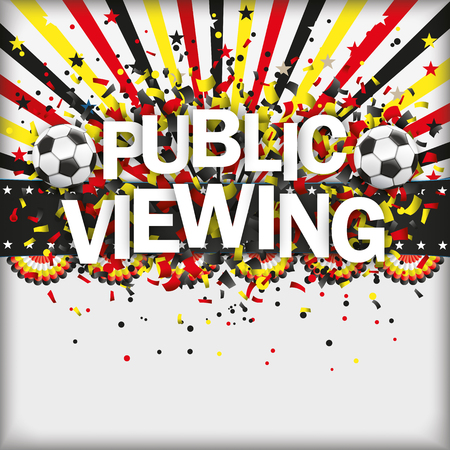 viewing: Confetti with football and text public viewing. 10 vector file.